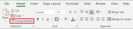 Where to find format painter in Excel