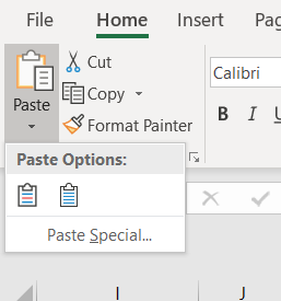 Excel paste options