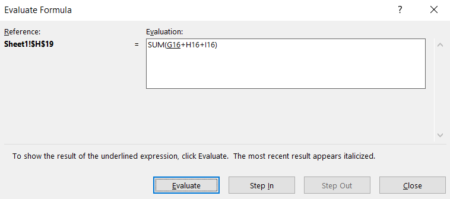 The formula evaluation dialogue box in Excel