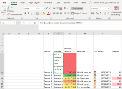 An example of wrapped text in Excel
