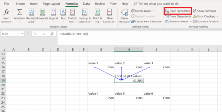 Excel tracing precedents