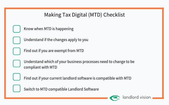 A making tax digital checklist for landlords