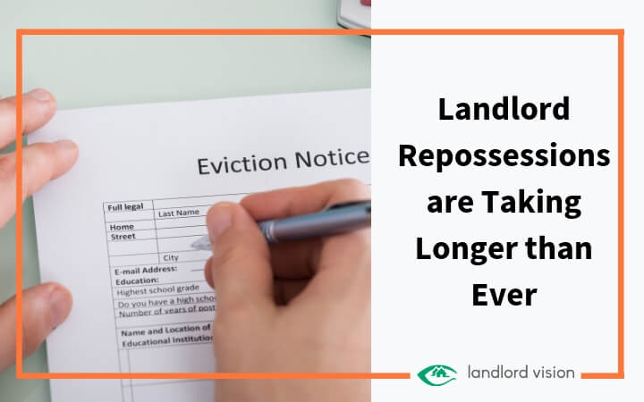 Hand signing eviction form. Blog header text: Landlord repossessions are taking longer than ever.