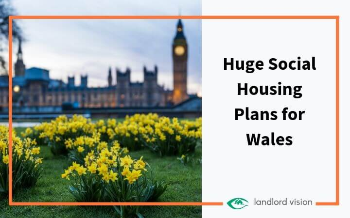 Daffodils in front of parliament with caption: huge social housing plans for Wales.