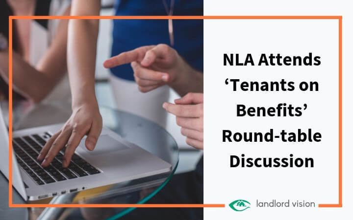 computer on a round table with blog title: NLA attends tenants on benefits round table discussion.