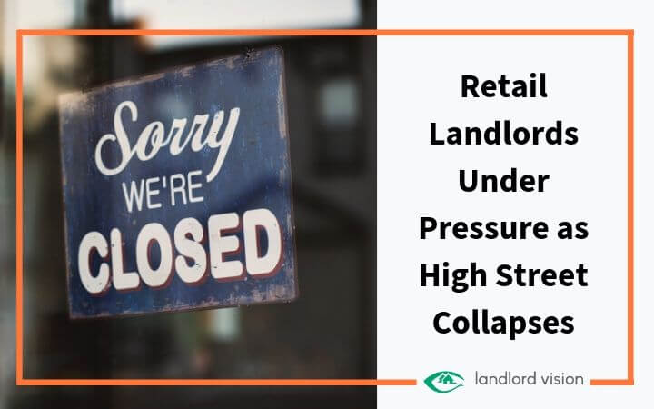 Closed sign with blog title: Retail landlords under pressure as high street collapses.