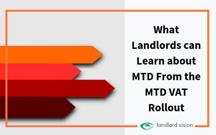 Orange arrows with blog heading: What landlords can learn about MTD from the MTD VAT Rollout.