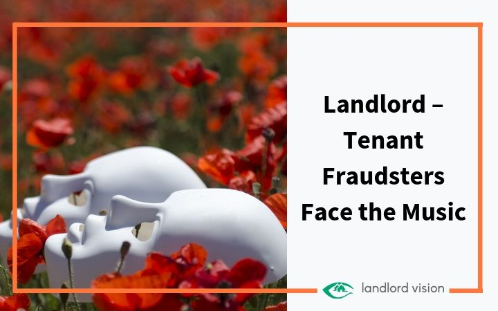 Two masks in flowers representing landlord tenant fraudsters.