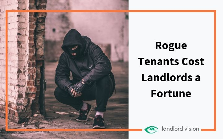 masked man squatting in building representing rogue tenants