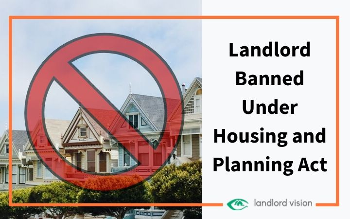 Houses with a banned sign over them
