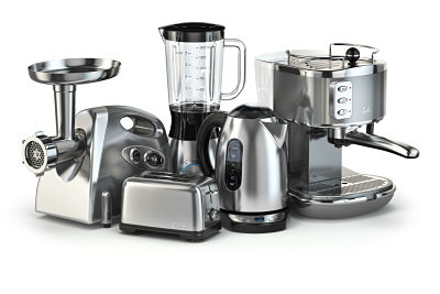 brown goods including blender, toaster, coffee machine, meat grinder and kettle.