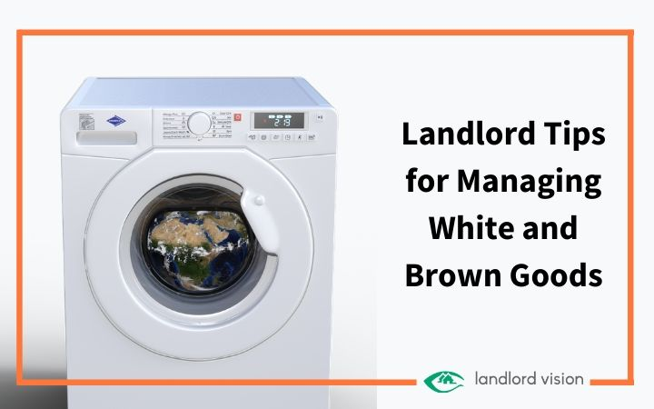 a washing machine signifying white and brown goods
