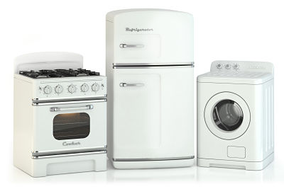 An example of white goods including washing machine, fridge freezer and cooker.
