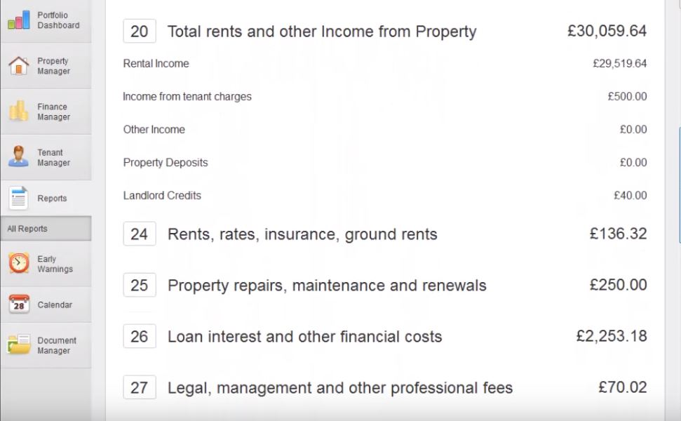 Screenshot of the Landlord Vision income tax report