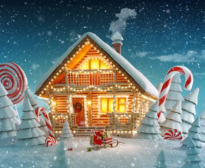 log house decorated for Christmas lights in magical forest with cartoon spruces and candy canes.