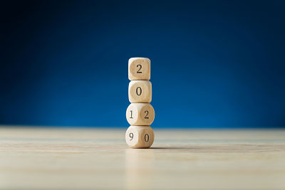 stacked dice showing 2019 turning into 2020