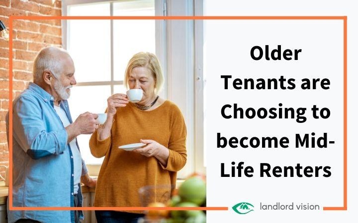 Older couple drinking tea in rental property