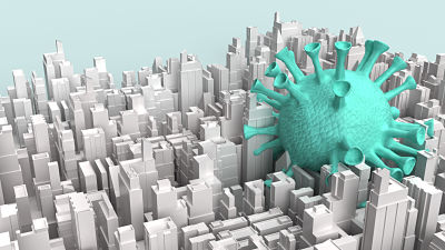 virus in a city - model