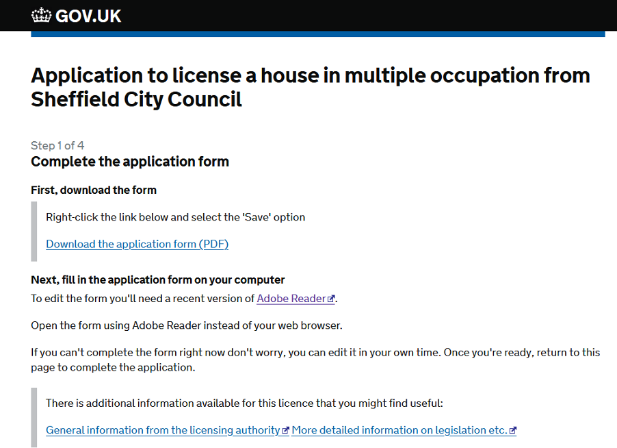 The HMO licence application for Sheffield.