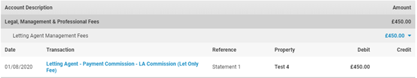 An example letting agent statement in Landlord Vision.