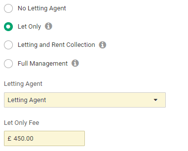 The letting agent page of the create tenancy wizard in Landlord Vision