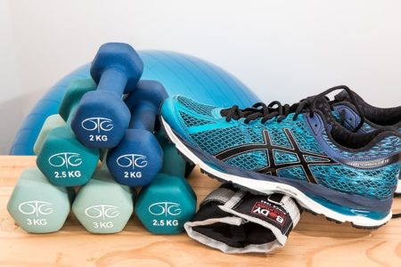 trainers and weights ready for a workout