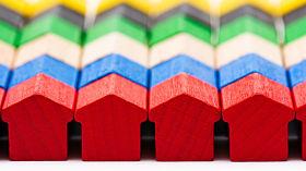 different coloured housing blocks
