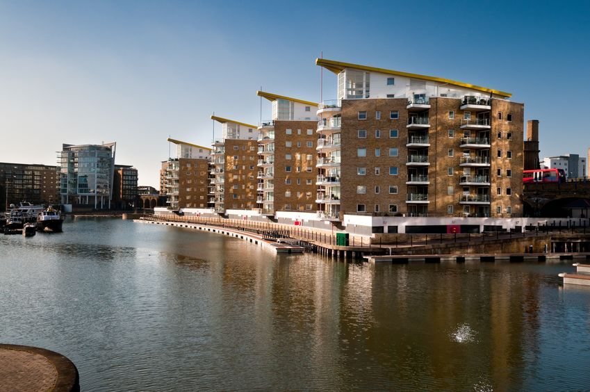14740642 - residential buildings by limehouse basin in east london
