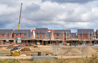 Newly built homes in a residential estate in England.