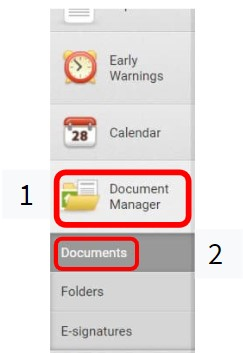 A screenshot showing how to find the document manager in Landlord Vision