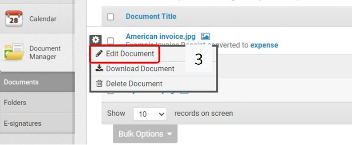 A screenshot showing how to edit documents in Landlord Vision
