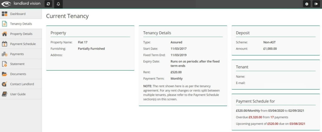 A screenshot of the tenant module in Landlord Vision