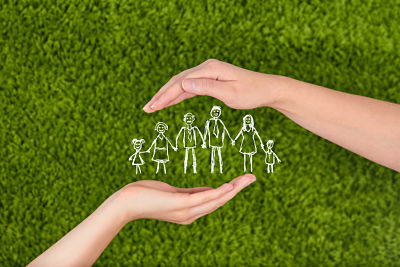 .Family life insurance, protecting family, family concepts.