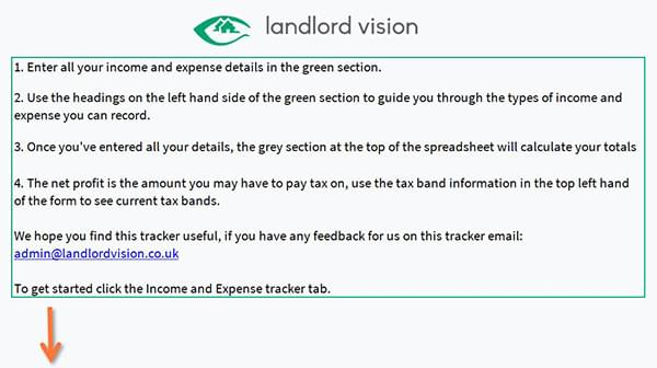 The instruction section of the income and expense spreadsheet