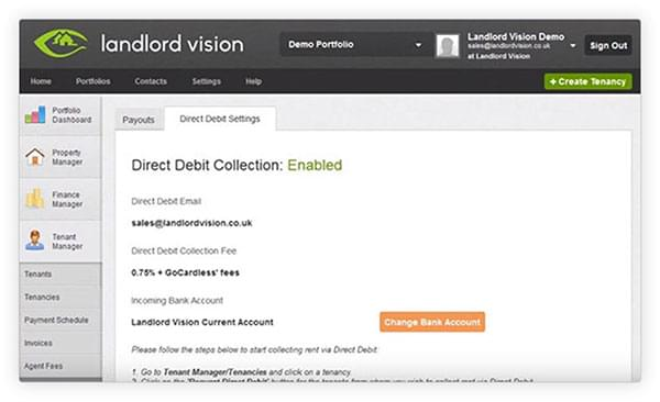 The Landlord Vision software dashboard