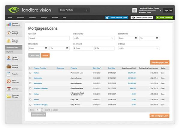 The finance management console in Landlord Vision